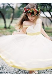 A-Line Straps Tea Length Yellow Satin Flower Girl Dress