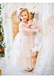 A-Line Straps Floor Length Pink Tulle Flower Girl Dress with Flowers