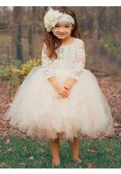 Ball Gown Round Neck White Tulle Flower Girl Dress with Lace Appliques
