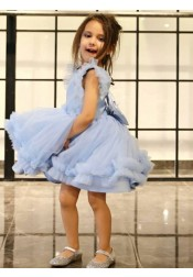 A-Line Round Neck Light Blue Flower Girl Dress with Ruffles Bowknot