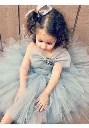 Ball Gown Strapless Sage Tulle Flower Girl Dress with Bowknot