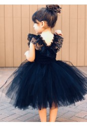 Ball Gown Navy Blue Tulle Flower Girl Dress with Ruffles