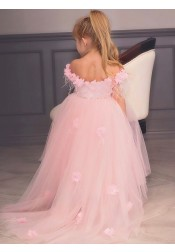 A-Line High Low Pink Flower Girl Dress with Flowers