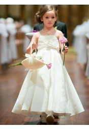 A-Line Square Neck Ivory Flower Girl Dress with Bowknot