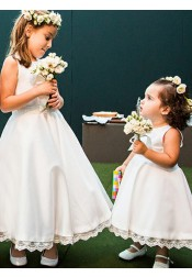 A-Line Round Neck White Satin Flower Girl Dress with Lace