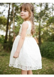 A-Line Round Neck Open Back White Lace Flower Girl Dress with Sequins