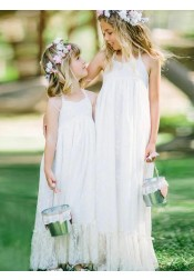A-Line Halter Sleeveless Long White Lace Flower Girl Dress