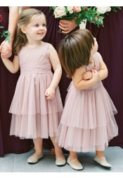 A-Line Round Neck Long Blush Tiered Tulle Flower Girl Dress