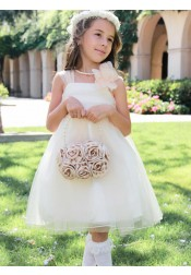 A-Line Square Neck Knee Length White Tulle Flower Girl Dress with Flowers