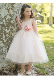 A-Line Square Neck Pearl Pink Tulle Flower Girl Dress with Flowers