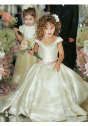 Ball Gown Off-the-Shoulder Ivory Satin Flower Girl Dress with Sash