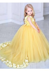 Ball Gown V-Neck Sweep Train Yellow Tulle Flower Girl Dress with Flowers