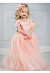 A-Line Round Neck Pink Tulle Flower Girl Dress with Appliques Beading Bowknot