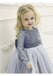 A-Line Round Neck Blue Tulle Flower Girl Dress with Lace Bowknot