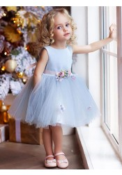 A-Line Round Neck Knee Length Blue Tulle Flower Girl Dress with Flowers