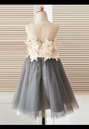 A-Line Jewel Grey Flower Girl Dress with Flowers
