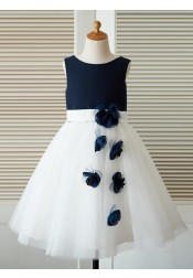A-Line Jewel White Flower Girl Dress with Flowers