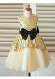 A-Line Jewel Champagne Flower Girl Dress with Sequins Bow