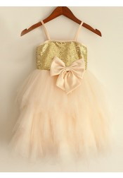 A-Line Spaghetti Straps Champagne Flower Girl Dress with Bow
