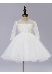 A-Line Jewel 3/4 Sleeves White Flower Girl Dress with Appliques