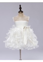 Ball Gown Jewel Ivory Tired Bow Flower Girl Dress