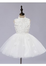 A-Line High Neck White Flower Girl Dress with Flowers