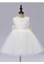 A-Line Jewel Ivory Flower Girl Dress with Flower Bow