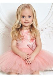 A-Line Round Neck Knee Length Floral Pink Tulle Flower Girl Dress