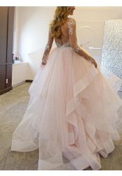 Elegant A-Line Bateau Long Sleeves Illusion Back Appliques Beading Tulle Wedding Dress