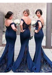 Mermaid Off-the-Shoulder Sweep Train Navy Blue Bridesmaid Dress with Lace