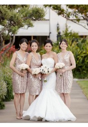 Hot-selling A-line V-neck Short Rose Gold Sequins Bridesmaid Dress/Party Dress