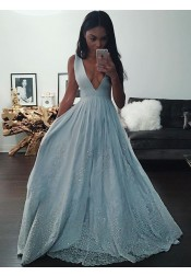 A-Line Deep V-neck Light Blue Prom Dress with Appliques Beading