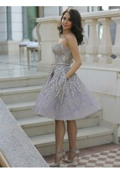 A-Line Strapless Lilac Evening Dress Lace Prom Dress with Beading