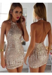 Sexy Halter Sheath Spandex Silver Short Homecoming Dress with Beading Open Back
