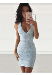 Sheath Deep V-Neck Sleevelss Short Light Blue Lace Homecoming Dress