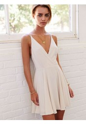 A-Line Deep V-Neck Sleeveless Short Ivory Chiffon Homecoming Dress