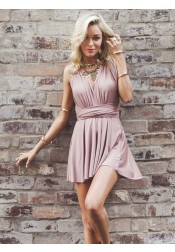 A-Line Deep V-Neck Criss-Cross Straps Short Blush Stretch Satin Homecoming Dress