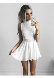 A-Line High Neck White Chiffon Homecoming Dress with Lace