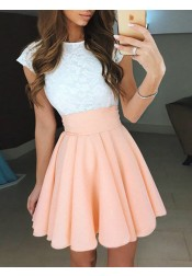 A-Line Jewel Cap Sleeves Pearl Pink Short Homecoming Dress with Lace
