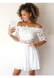 A-Line Off-the-Shoulder Half Sleeves White Homecoming Dress with Lace
