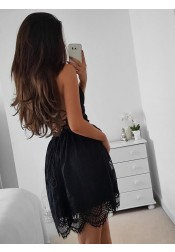 A-Line Spaghetti Straps Lace-up Short Lace Little Black Dress