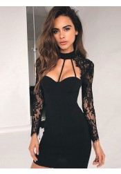 Bodycon High Neck Long Lace Sleeves Cut Out Front Little Black Dress