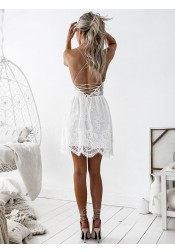 A-Line Spaghetti Straps Lace Little White Homecoming Dress