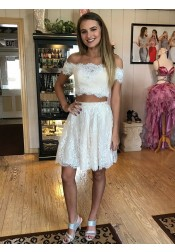 Two Piece Off-the-Shoulder White Lace Homecoming Dress