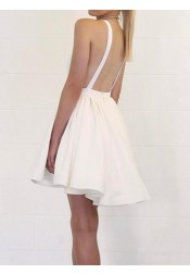 A-Line Deep V-Neck Backless Short White Satin Homecoming Dress