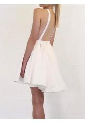A-Line Deep V-Neck Backless Short White Satin Homecoming Dress