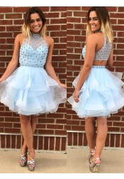 A-Line High Neck Blue Tulle Homecoming Dress with Beading