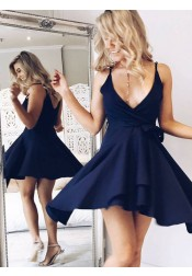 A-Line V-Neck Short Navy Blue Polyester Homecoming Dress with Sash