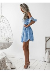 9d22356aa7e70 ... A-Line Spaghetti Straps Short Sky Blue Lace Homecoming Dress with  Ruffles