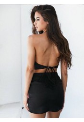 Two Piece Bodycone Black Satin Cocktail Dress with Appliques
